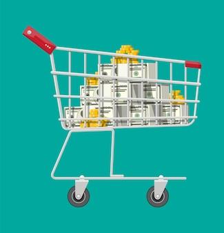 Carrinho de supermercado de metal com moedas de ouro e notas de dólar. compras, prêmio, prêmio e banco. crescimento, renda, poupança, investimento. símbolo de riqueza. sucesso nos negócios. estilo simples de ilustração vetorial