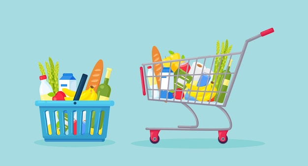 Carrinho de supermercado, sacola de compras, carrinho cheio de produtos de mercearia frescos, alimentos saudáveis, mercadorias