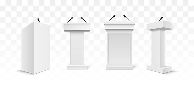 Carrinho de tribuna tribuna de pódio branco de vetor com microfones