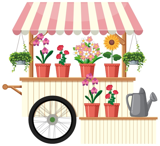 Carrinho de vendedor de flores isolado