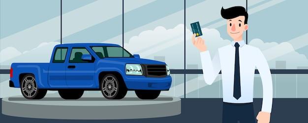 Carrinho do vendedor na frente da camionete azul.