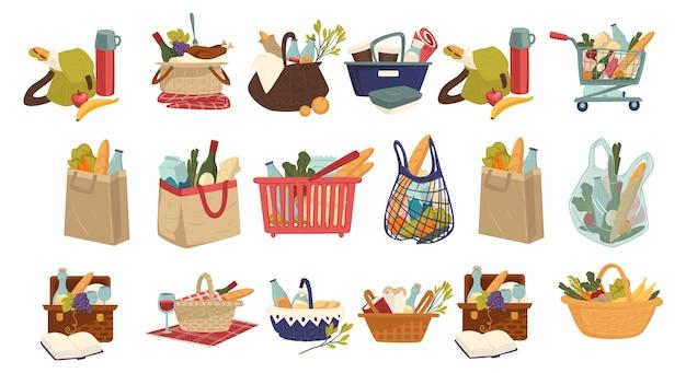 Carrinho e carrinho, sacola e pacote com produtos comprados em mercearia. baguete e vegetais, farinha láctea e frutas tropicais, banana e suco em garrafa. ilustração vetorial em estilo simples