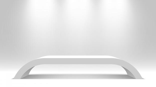 Carrinho em branco branco. pódio. tabela. pedestal. ilustração.