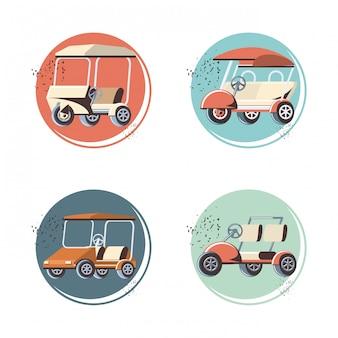 Carrinhos de golfe conjunto de ícones