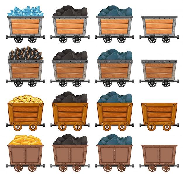 Carrinhos de mineração carregados com ilustração de pedra e ouro