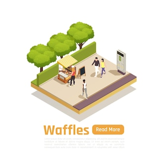 Carrinhos de rua, caminhões, composição isométrica isolada com waffles à venda no parque