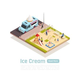 Carrinhos de rua isométricos, composição colorida de caminhões com caminhão de sorvete parado perto do playground