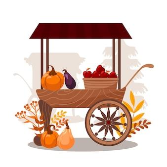 Carrinhos vegetais frutas abóboras berinjelas maçãs contadores de barracas dia mundial da vegana feiras de outono