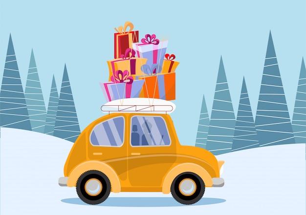 Carro amarelo carregando caixas de presente no telhado