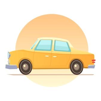 Carro amarelo, desenho animado em um fundo branco