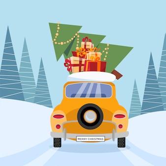 Carro amarelo retrô com presentes e árvore de natal no telhado