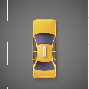 Carro amarelo, táxi, táxi. vista do topo.