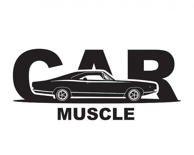Carro americano do músculo. modelo de logotipo de garagem supercarro.