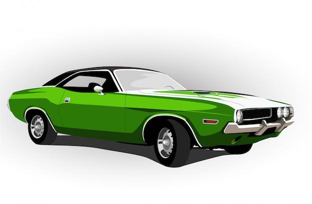 Carro americano do músculo verde