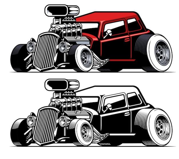 Carro americano vintage hot rod com motor grande