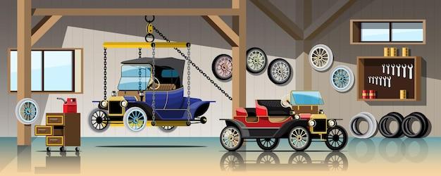 Carro antigo à espera de serviço de reparação e manutenção