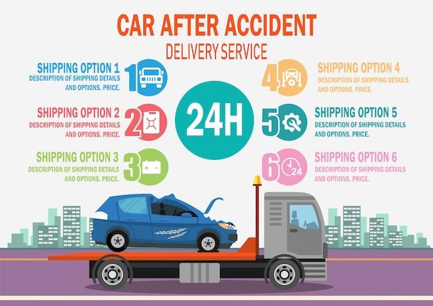 Carro após o serviço de entrega do acidente. vetor.
