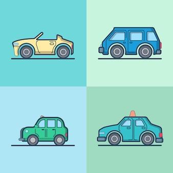 Carro automóvel conversível cabriolet táxi táxi minibus sedan hatchback conjunto de transporte legal Vetor grátis