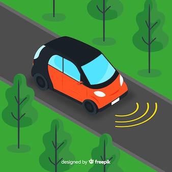 Carro autônomo com design plano