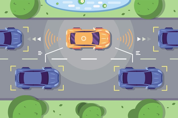 Carro autônomo dirigindo na estrada com sistemas de detecção