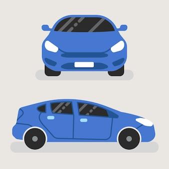 Carro azul na vista frontal e vista lateral