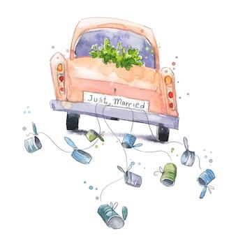 Carro bonito em aquarela com placa de recém-casado em uma viagem de casamento