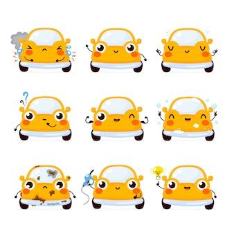 Carro bonito feliz automóvel amarelo. isolado no fundo branco conceito de personagem de carro automóvel