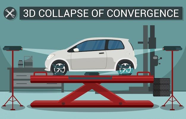 Carro branco no viaduto. colapso 3d da convergência. estação de serviço profissional. carro no viaduto.