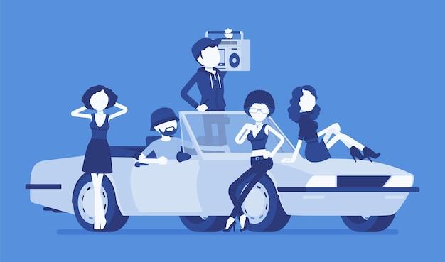 Carro cabriolet com ilustração de pessoas