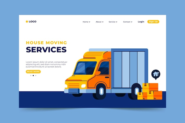 Carro cheio de página de destino de serviços de mudança de casa de móveis