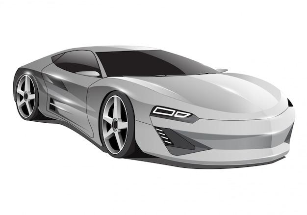Carro cinza realista esporte luxo 3d em fundo branco.