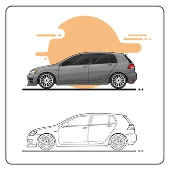 Carro cinzento moderno fácil editável