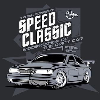Carro clássico de velocidade, ilustração de um carro esportivo à deriva