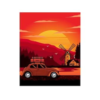 Carro clássico e moinho de vento