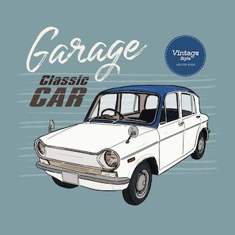 Carro clássico, estilo vintage. mão desenhar desenho vetorial.