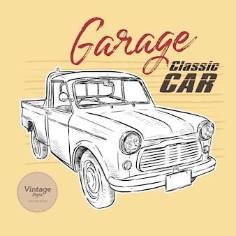 Carro clássico, estilo vintage. sorteio de mão