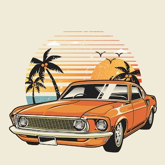 Carro clássico na praia