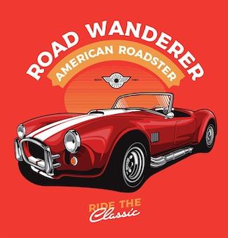 Carro clássico vermelho corrida estilo cabriolet Vetor Premium