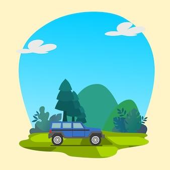 Carro colorido com vetor premium de fundo de natureza