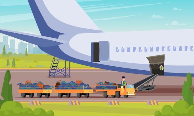 Carro com ilustração lisa dos passageiros da bagagem.