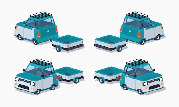 Carro compacto isométrico azul do lowpoly 3d com o reboque