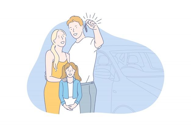 Carro, comprar, conceito de família
