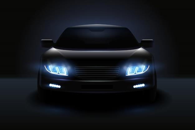 Carro conduziu a composição realista de luzes com a silhueta escura do automóvel com faróis esmaecidos e ilustração de sombras