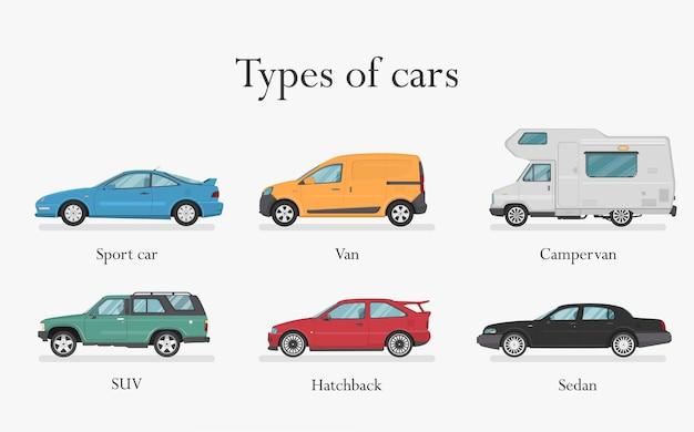 Carro. conjunto de carros. estilo simples. vista lateral, perfil. tipos de carros