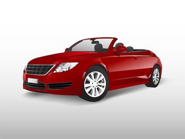Carro conversível vermelho isolado no branco vector