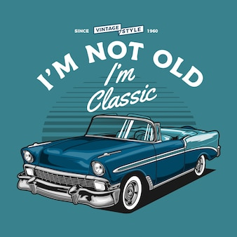 Carro conversível vintage azul