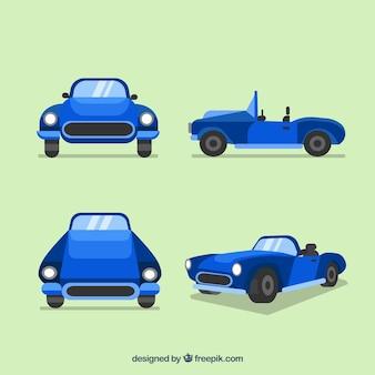 Carro convertível em diferentes vistas