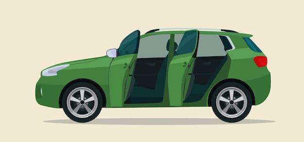 Carro cuv compacto com as portas do motorista e do passageiro abertas. ilustração.