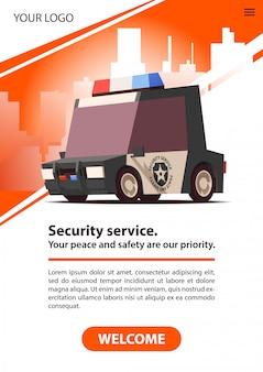Carro da guarda privada. serviço de segurança de cartazes.