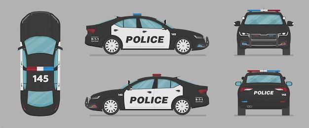 Carro da polícia americana de diferentes lados